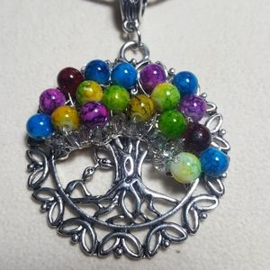 Tree of Life necklace colorful Glass & Swarovski